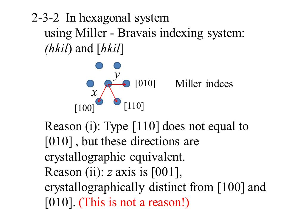 using Miller - Bravais indexing system: (hkil) and [hkil]